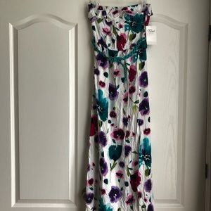 Floral Maxi Strapless Dress with Belt